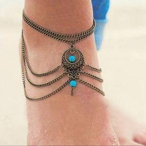 {RENEE} Boho bronze turquoise anklet body jewelry